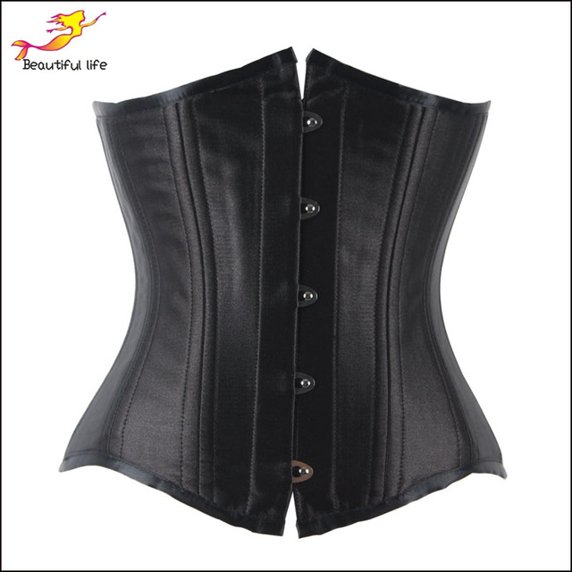 Plus Size 24 double Steel Boned Waist Trainer Corsets and Bustiers Black Corset Underbust Gothic Corselet Sexy Waist Cincher -C
