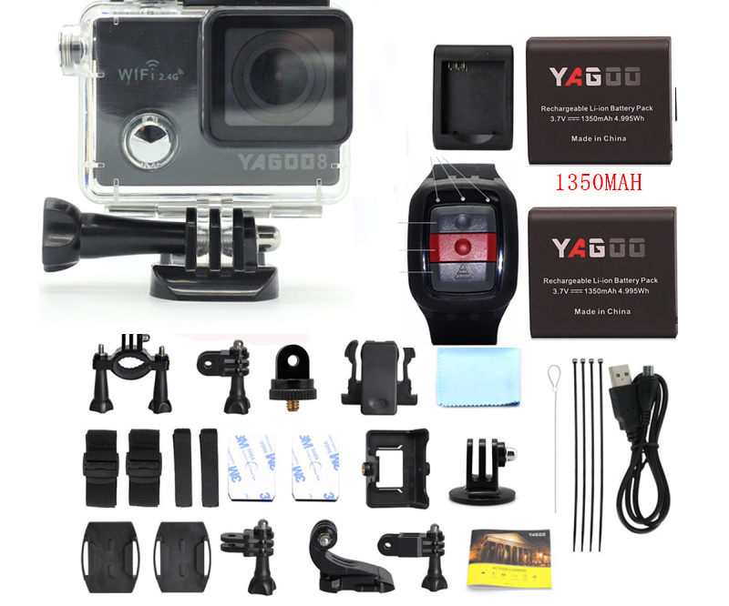 Yagoo8 Wifi Action Camera Full HD4K /1080P outdoor Sports Cam Go Waterproof 30M Pro Remote  32 64G  recorder Navy diving camera