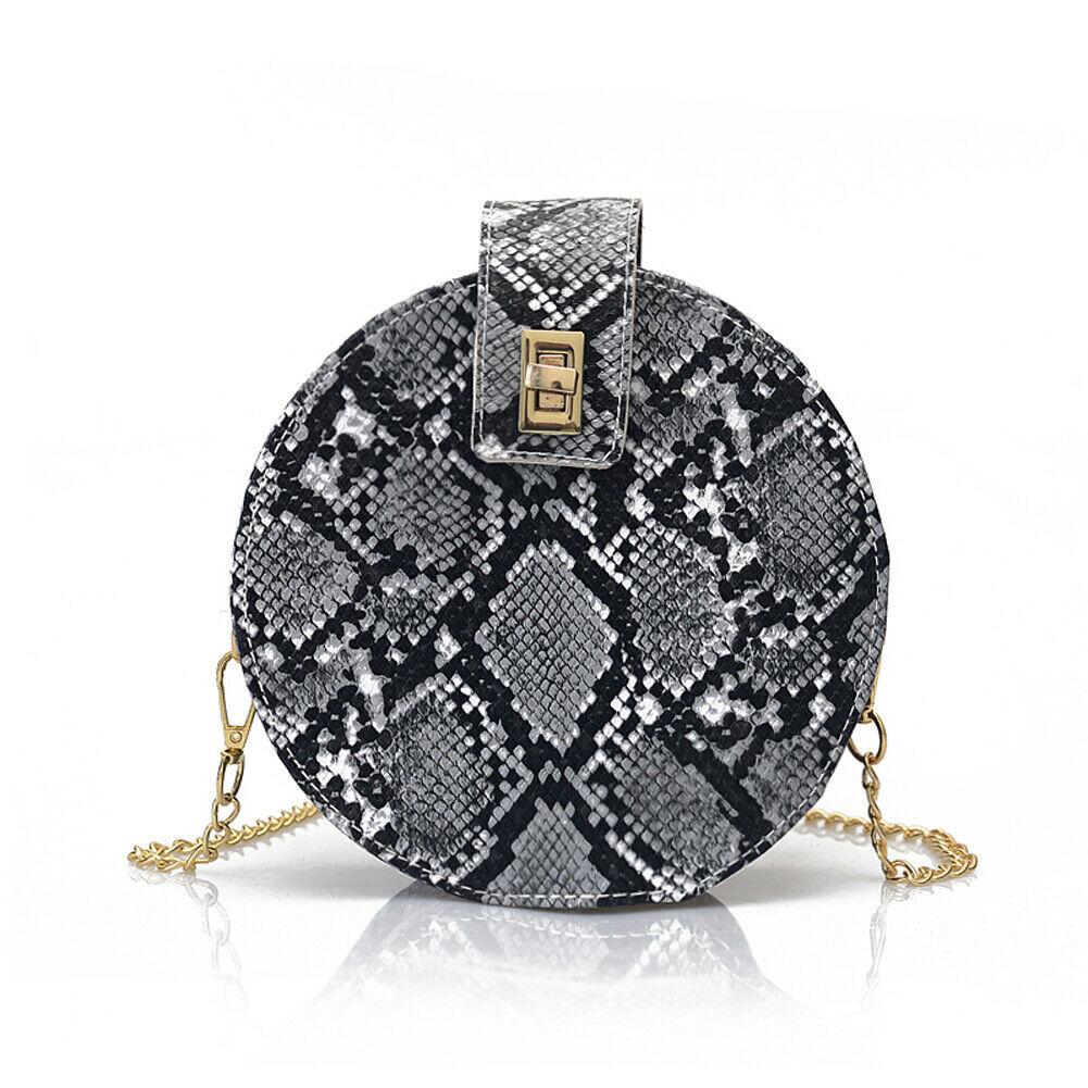 New Round Snake Print Women's Shoulder Bag Fashion PU Leather Chain Messenger Bag Handbag