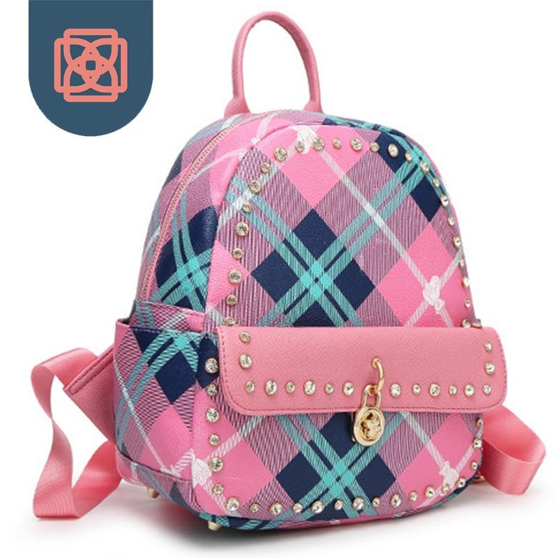 ФОТО Diamond Studded Women's Backpack Plaid Candy Color Designer Brand School Bags Korean Bagpack Travel Bag Preppy Style