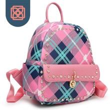 Diamant Besetzte frauen Rucksack Karierten Candy Farbe Designer Marke Schultaschen Koreanischen Rucksack Reisetasche Adrette