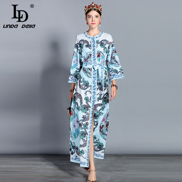 53d8865f743a2 LD LINDA DELLA Fashion Runway Maxi Dresses 3XL Plus size Women s Long Sleeve  Elegant Belt Split