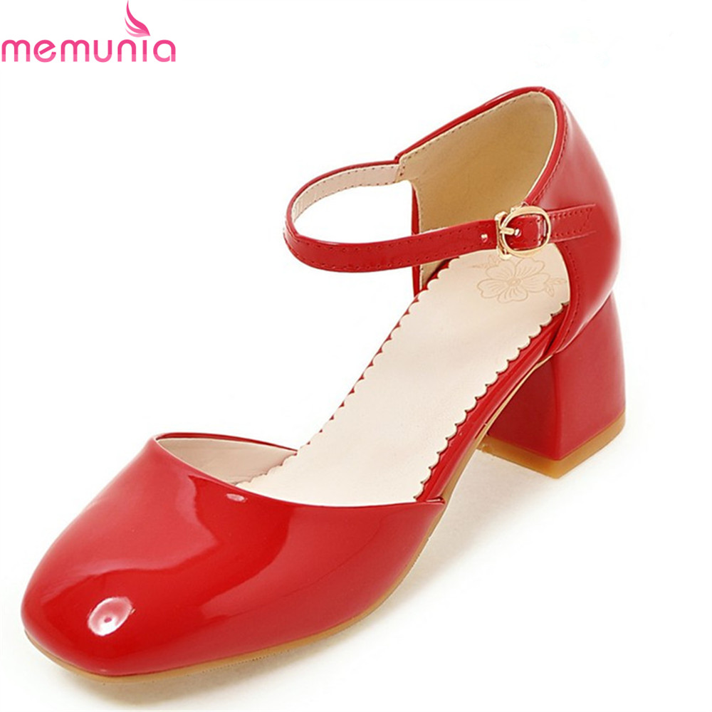 MEMUNIA 2018 fashion sweet thick high heels pumps women solid red black square toe patent leather spring shoes memunia spring autumn fashion lace up ladies shoes med heels square toe high quality patent leather black casual shoes