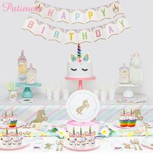 PATIMATE Horns Unicorn Cake Topper Kids Boys Birthday Wedding Party Supplies Combination Decorating Tools Flag Balloon