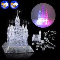 KIDS 3D PUZZLE CASTLE CRYSTAL PUZZLE MUSIC LIGHT MODEL DIY CASTLE JIGSAW EDUCATIONAL TOYS FOR CHILDREN