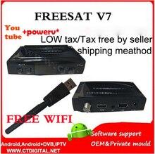 Decodificador de tv Digital por satélite Freesat V7 hd receptor de satélite DVB-S2 HD + 1 UNID WIFI completo powervu soporte c * soy youpron set top box