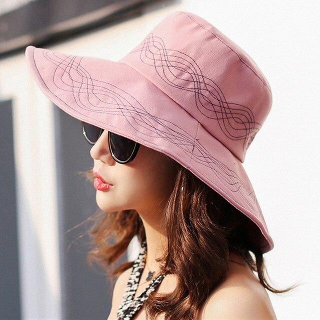 2018 Linen Spring Summer Hat Women Wide Brim Sun Hat Wedding Church Sea Beach  Hats for 50b1c311c94a