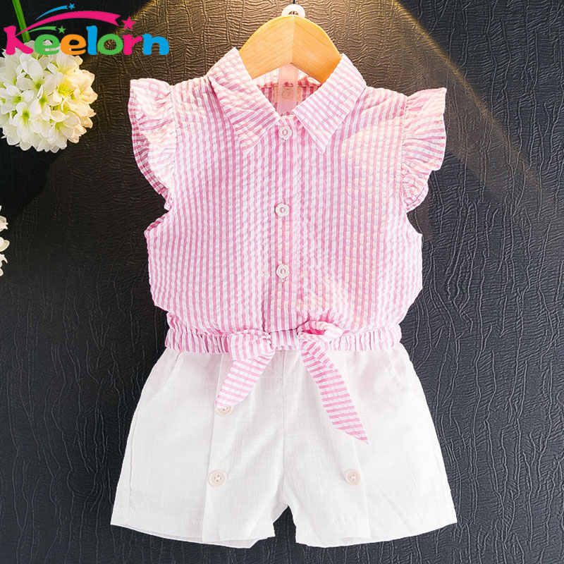 Keelorn Girls Clothing Set 2019 Sommar Fashion Style Barnkläder Ärmlös Striped T-shirt + Plaid Shorts 2Pcs Suit Kids