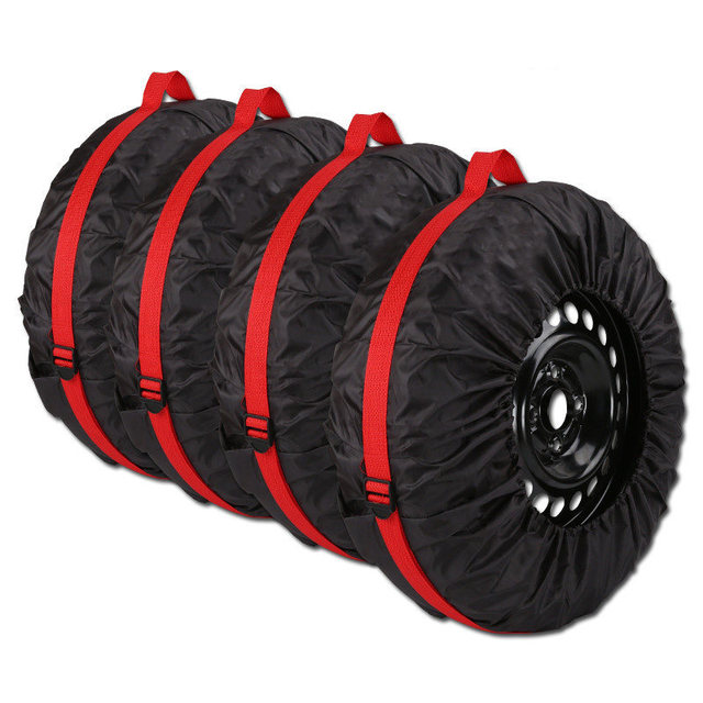 New 4pcs Spare Tire Cover Case Polyester Winter And Summer Car Storage Bags Auto Tyre