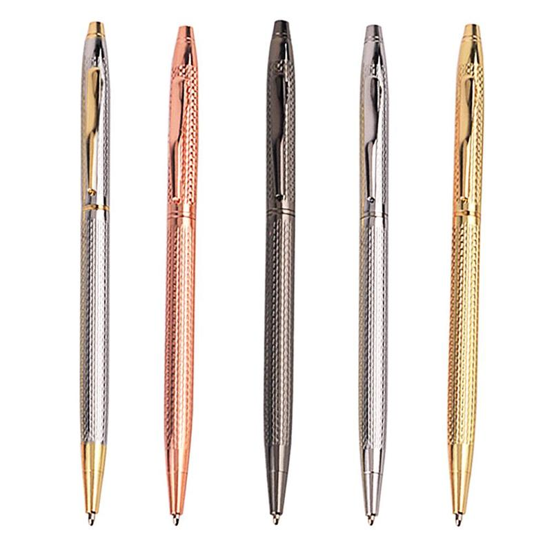 Drawing Slim Metal Ballpoint Pen Vintage Gold Silver Ball Pen For Business Writing Office School Supplies Stationery boligrafo image