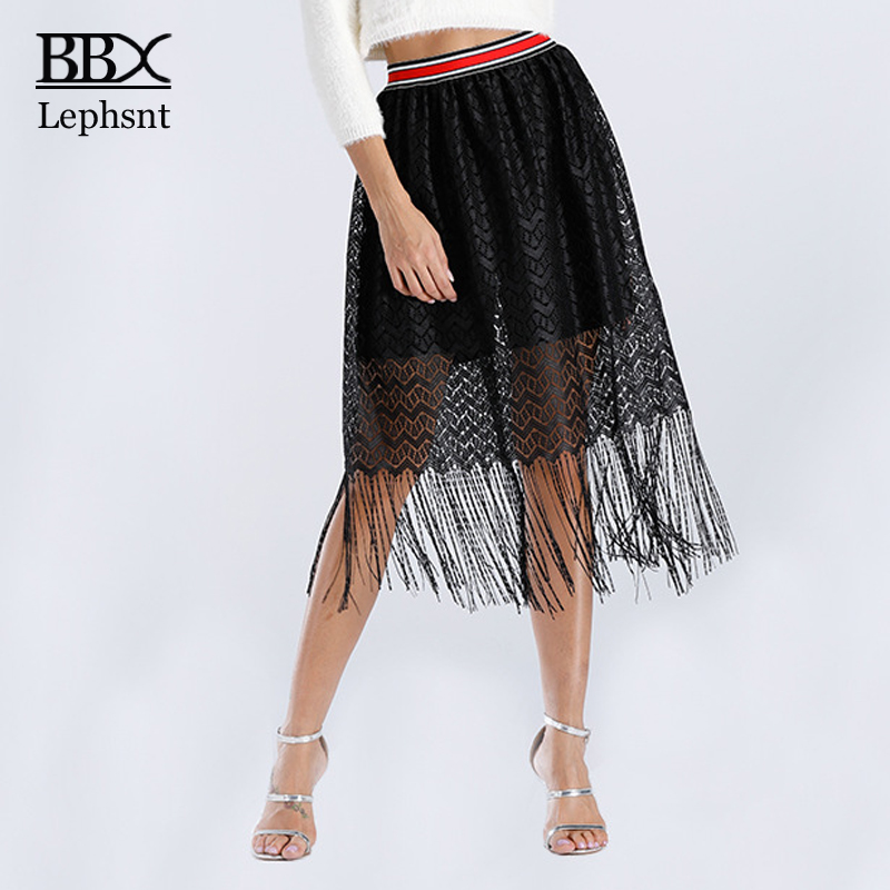 BBX Lephsnt High Waist Lace Tassel Skirt 2018 Womens Skirts Female Summer Sexy Skirt A-line Hollow Out Midi Skirt Mujer B84008