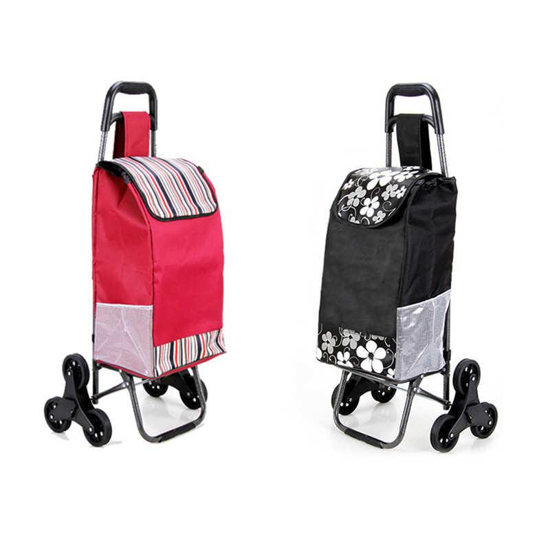 Carrito de compras portátil pequeño carrito de tirón de seis ruedas portátil plegable comida comprar palo equipaje tipo escalera