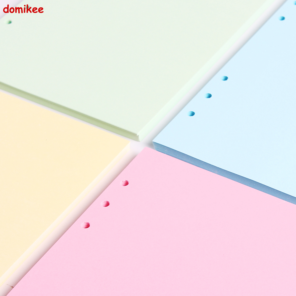 Domikee cute colorful 6 holes blank inner papers core for spiral notebook,candy notebook replacement paper core A5 A6 4 colors 2018 new creative flowers series 6 holes spiral notebook paper cute inner paper core for notebooks adaptation filofax a5 a6 page 10 page 10