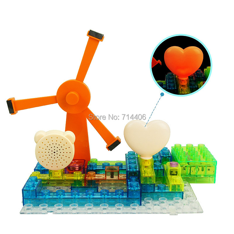 600 projects electronic building blocks magnetic windmill sound effect,kid's educational&learning DIY assembled bricks toys купить