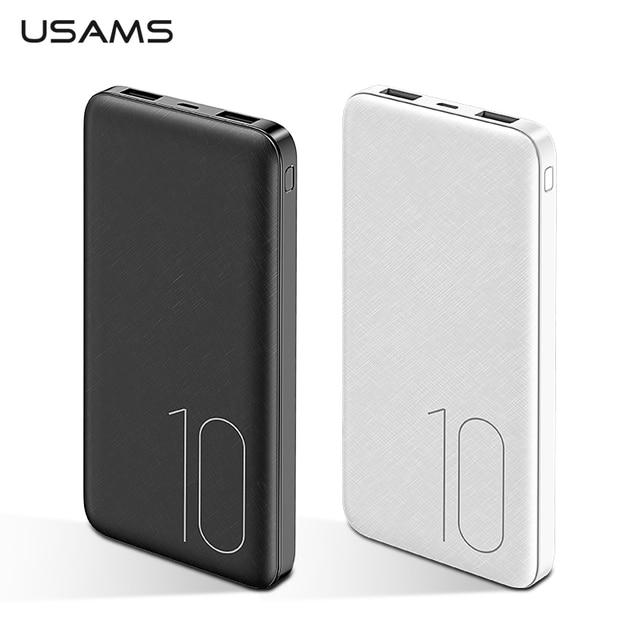 USAMS נייד 10000 mAh כוח בנק Slim חיצוני סוללה 10000mah עבור iPhone Xiaomi Huawei Oneplus כפולה USB מטען Powerbank