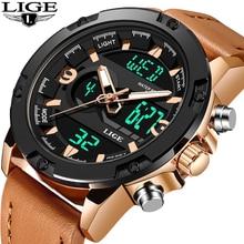 купить LIGE Mens LED Light Watches Mens Leather Waterproof Clock Military Sport Wristwatch Analog Quartz Watch Relogio Masculino+Box дешево