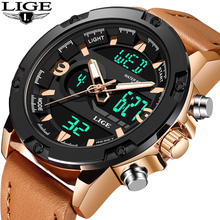 цены на LIGE Multifunction Waterproof Quartz Luxury LED Digital Dual Display Men Watch Sport Leather Strap Chronograph relogio masculino  в интернет-магазинах