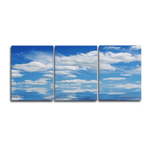 Blue Sky 3 Panel Wall Art Poster Wedding Decoration Abstract Vintage Canvas Oil Painting for Living Room Bedroom Decor No Frame(China)