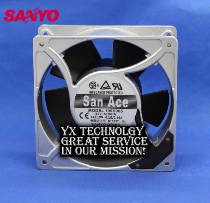 SANYO New and Original 109S005 100V 0.18A / 0.16A aluminum frame 12038 12CM fan 120*120*38mm sunon free shipping new original taiwan blower fan dp200a p n2123hsl 1238 12cm 12038 120 120 38mm 220v wire type