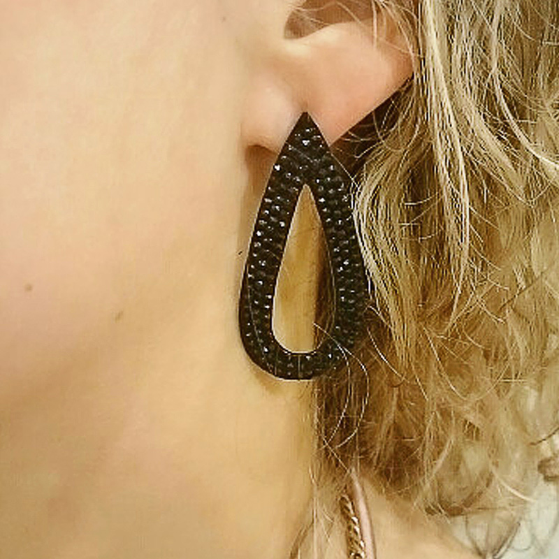 Flola Gothic Jewelry Black Drop Earrings Women Teardrop Large For S Long Ersg69 Whole