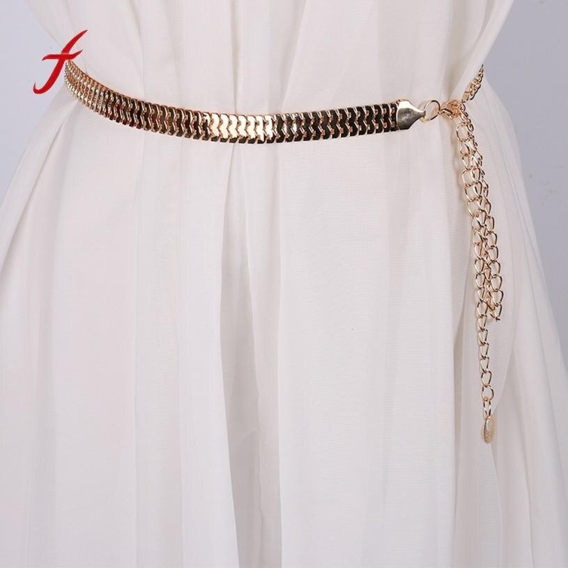 Belt Newly Design Fashion Women Lady Fashion Fish Skin Pattern Metal Gold Chain Belt Waist Strap Drop Shipping