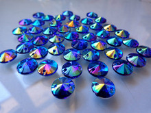 Round 10mm 300pcs Sew on Loose Beads Crystals Blue AB colour Rhinestones Accessories For Hand Sewing Strass Diamond m45