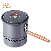 BULin Hiking Picnic Backpacking Tableware Camping Pot Pan With Pouch And Brush Aluminum Outdoor Tableware