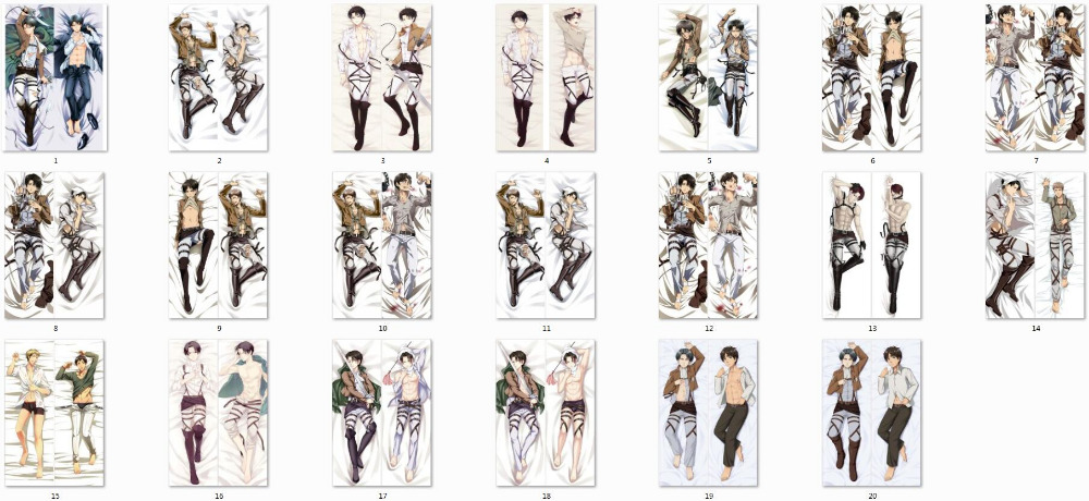 Attack on Titan anime Characters eren jaeger & levi throw pillow cover shingeki no kyojin body PillowcaseAttack on Titan anime Characters eren jaeger & levi throw pillow cover shingeki no kyojin body Pillowcase