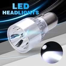1PC BA20D 9W Motorcycle Tricycle Headlight 3LED White Light Bulb Aircraft Aluminum Integrated High Condenser Lens