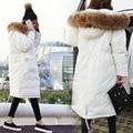 2016 Новый 2016 мода зима куртка женщин parka женщин основной искусственного меховой капюшон свободные негабаритных army green белый длинное пальто высококачественным