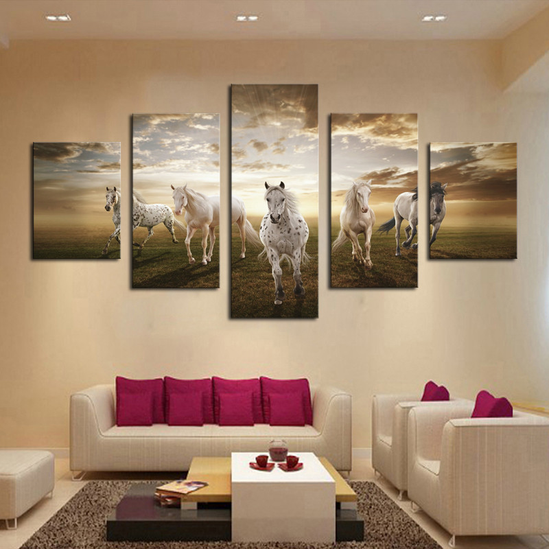 Framed 5 pcs high quality cheap art pictures running horse for Modern home decor for cheap
