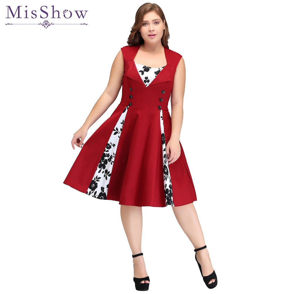 2019 New Women   Cocktail     dress   Patchwork Vintage   Dress   Plus Size S-4XL Party Casual   Dress   Feminino Rockabilly   Dress   Swing Vestido