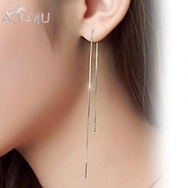 Aomu Ear Thread Earrings 925 Sterling Silver Long Line Chain For Women Delicate