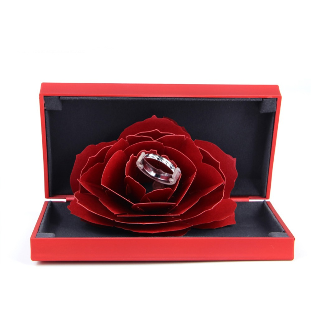 Rose Shape Holder Box Square jewelry Organizer Box Engagement Ring For Earrings Necklace Bracelet Display Gift Box Holder 13540