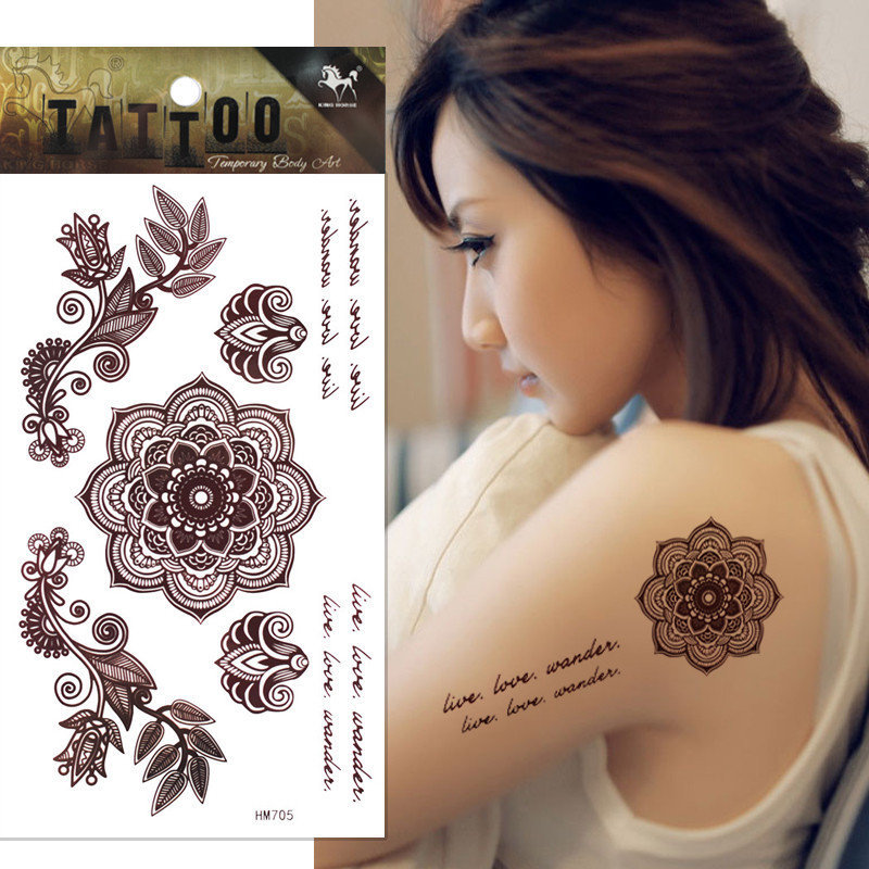 1pcs Temporary Brown Henna Tattoo Delicate Flower Tattoo Body Art Tatoo Sticker Tatuagem Tatuaje