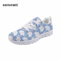 INSTANTARTS Flat Shoes Women Breathable Cute Cartoon Elephant Sneakers Footwear Female Casual Lace Up Air Mesh Flats Woman Shoes