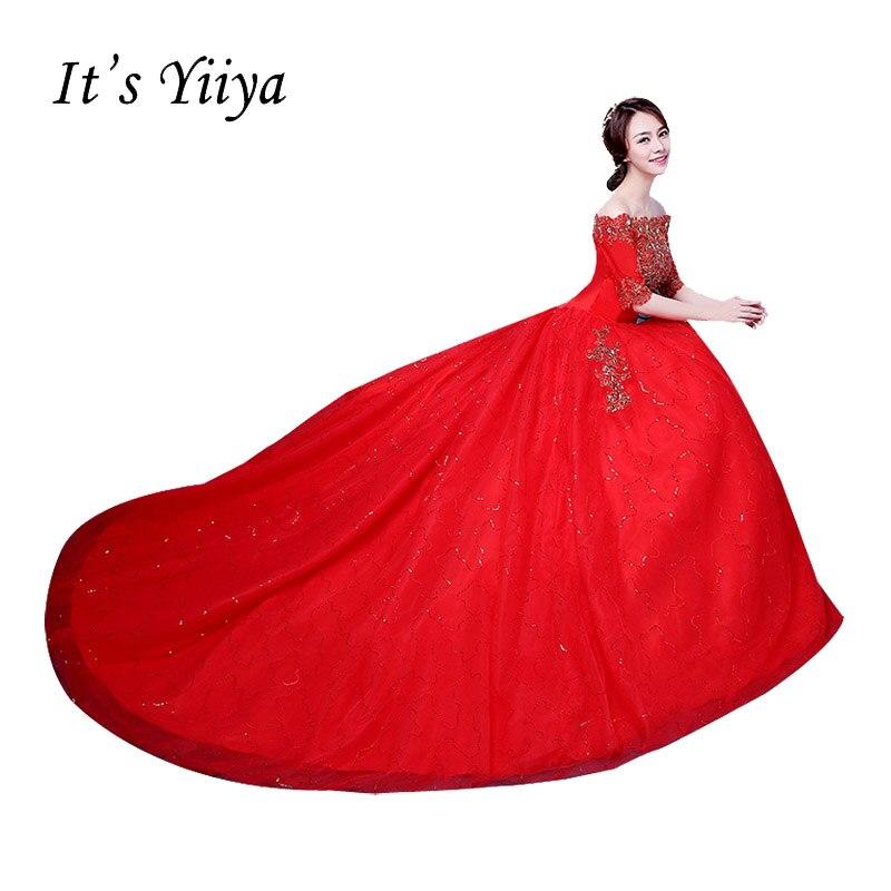 Это Yiiya 2017 Vestidos De Novia Лодка шеи Кружева Половина рукава со шлейфом Свадебные платья Белый Красный со шлейфом невесты платья XXN171