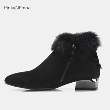 ankle boots for women luxury fur low chunky heels warm and comfortable black flock inside zip pointed toe booties plus size 44 цена в Москве и Питере