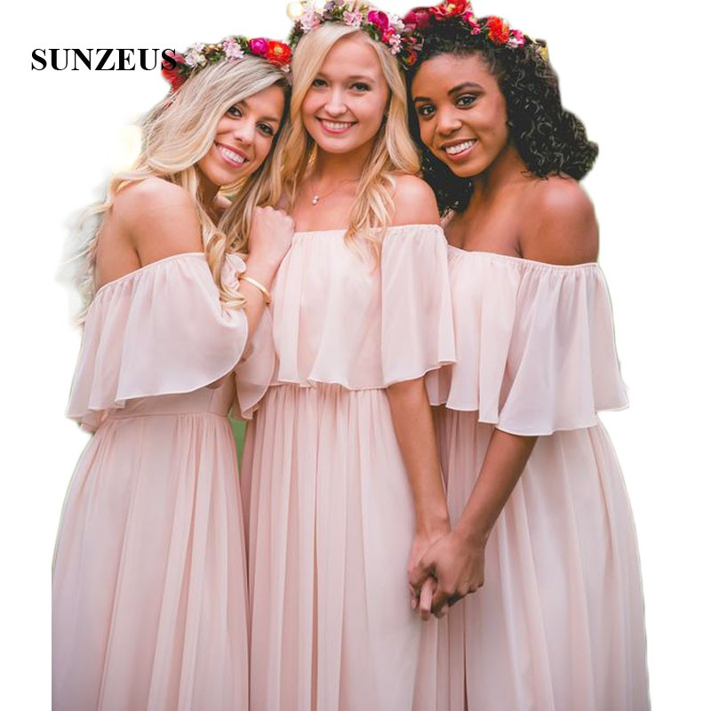 A-Line Chiffon   Bridesmaid     Dresses   Strapless Pink Wedding Guest   Dresses   Open Back Prom   Dresses   robe mousseline SBD24