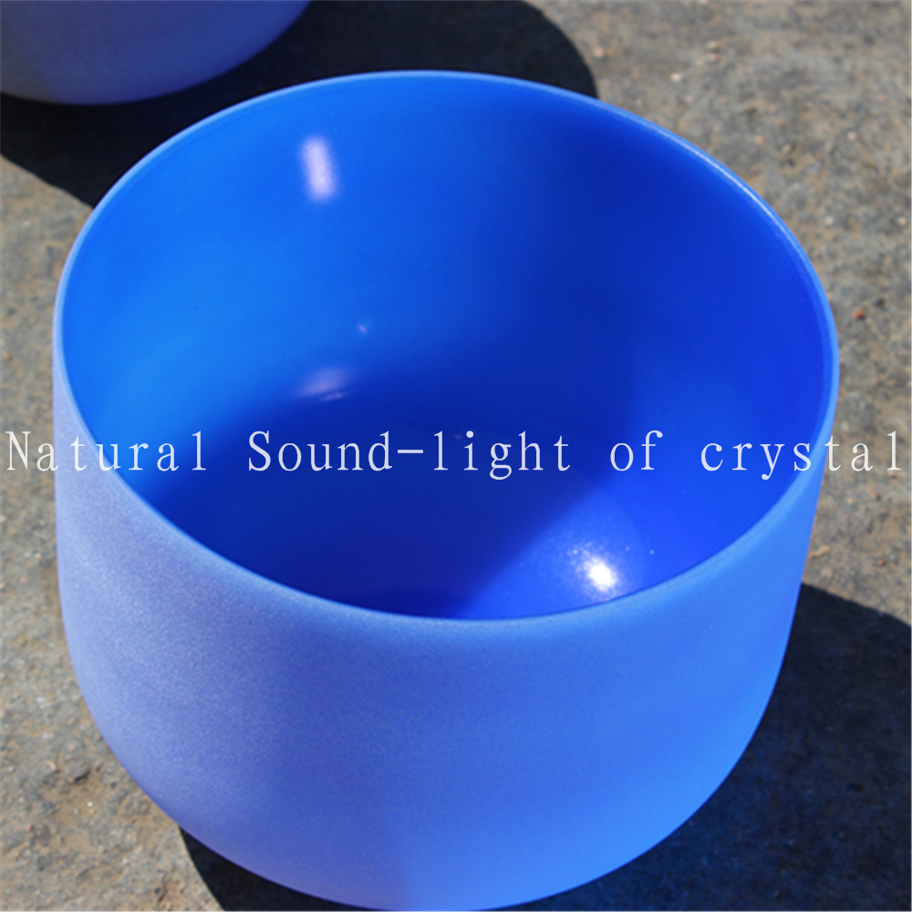 Perfect Pitch 10  Blue Or Green color crystal singing bowl or F  chakras or G chakras design 10 and 12 2pcs chakra white frosted quartz crystal singing bowl 432hz