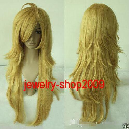 New wig Cosplay Panty and Stocking Light Golden wig new wig cosplay ice blue curly split type wig page 5