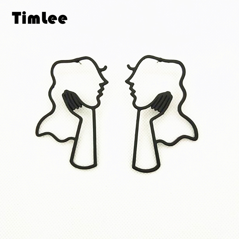Timlee E191 Temperament Face Outline Long Girl Studs Earrings,Personality Modern Jewelry wholesale