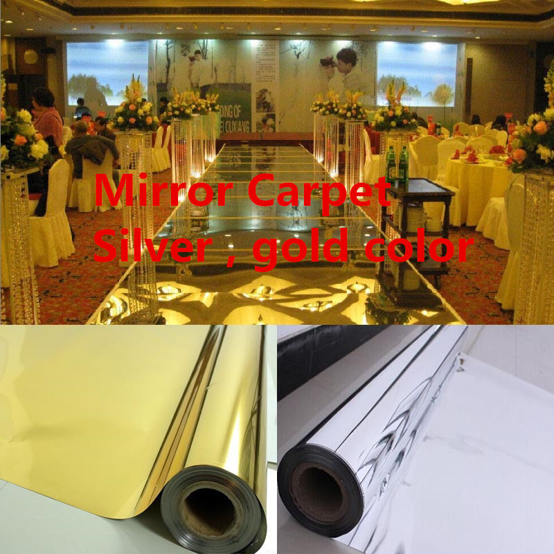 Free Shipping 20meters/lot,1.2meter width,0.13mm thickness,Wedding Mirror Carpet,T Stage Mirror Carpet silver , gold