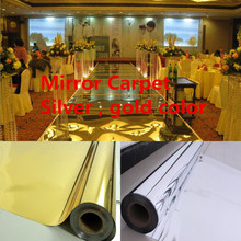 Free Shipping 20meters/lot,1.2meter width,0.13mm thickness,Wedding Mirror Carpet,T Stage Carpet silver , gold