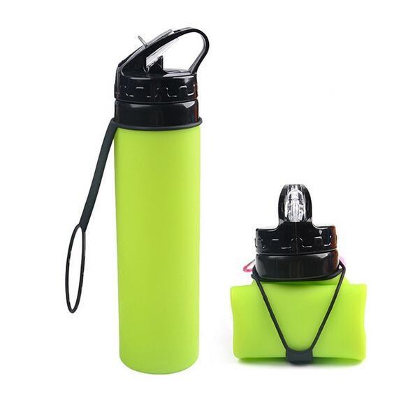 Creative Travel Outdoor Water Bottles Portable Dog Cat: Fashion Creative Silicone Kettle Folding Bike Water Bottle