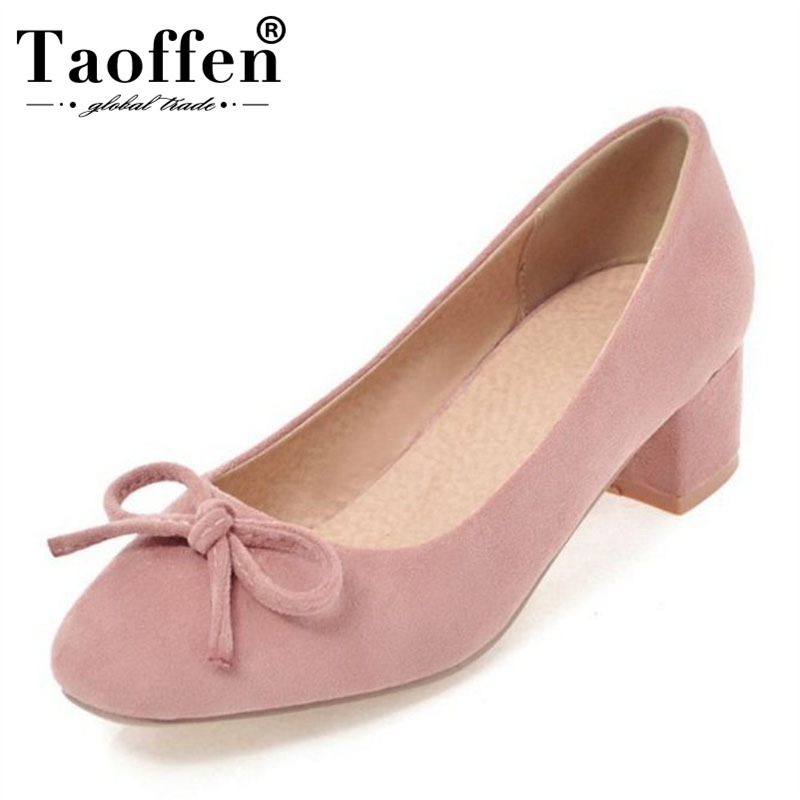 Taoffen Office Lady Bowknot Square Heels Spring Women Pumps Party Club Sweet Shoes Women Youngs Daily High Heel Shoes Size 34-43Taoffen Office Lady Bowknot Square Heels Spring Women Pumps Party Club Sweet Shoes Women Youngs Daily High Heel Shoes Size 34-43