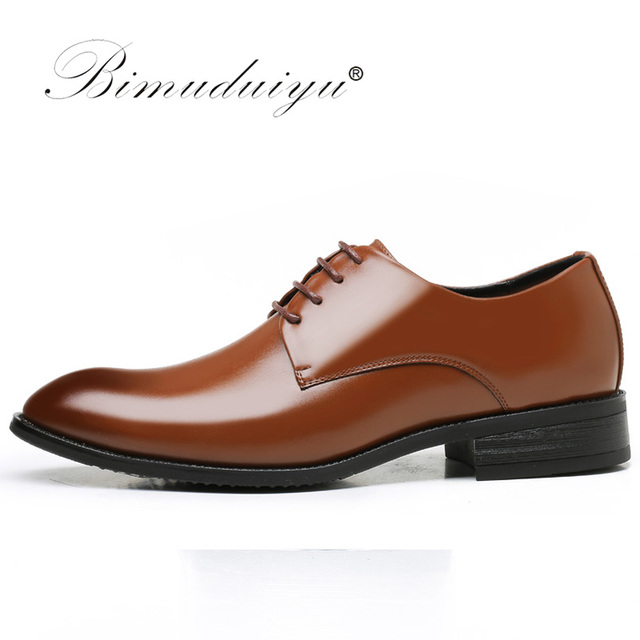 BIMUDUIYU luxury Brand Classic Man Pointed Toe Dress Shoes Mens Patent Leather Black Wedding Shoes Oxford Formal Shoes Big Size