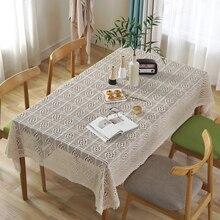 Cotton Fabric Handmade Crochet Tablecloth Geometric Diamond Hollow American Pastoral Table Cloth Solid White Obrus Mantel цены онлайн