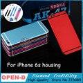 Hq para iphone 6 s 4.7 pulgadas marco de metal cubierta de la contraportada chasis cubierta de repuesto para iphone 6 s rojo negro enviar pegamento batería