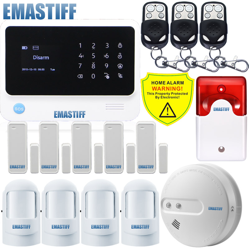 Free Shipping!English/Russian/Spanish device Wireless new smoke WiFi GSM GPRS Home Alarm System Security wired Flash Siren free shipping russian
